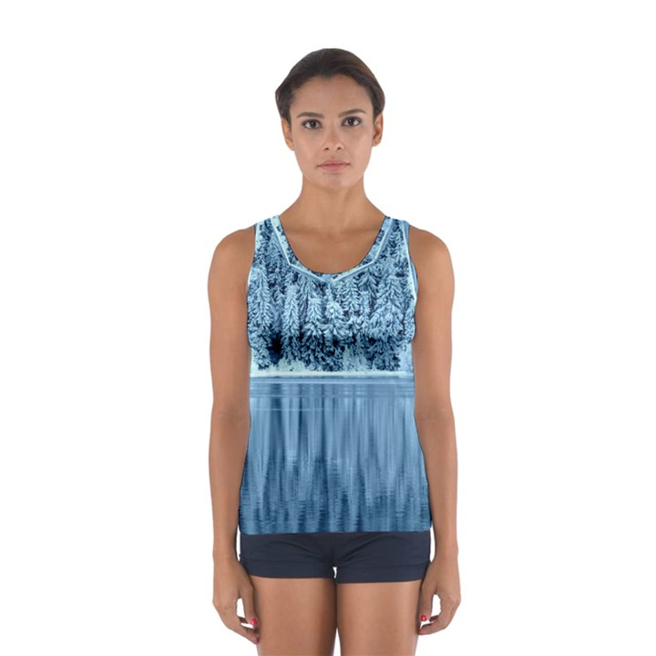 Snowy Forest Reflection Lake Sport Tank Top