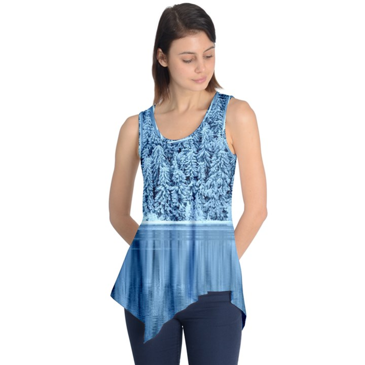 Snowy Forest Reflection Lake Sleeveless Tunic