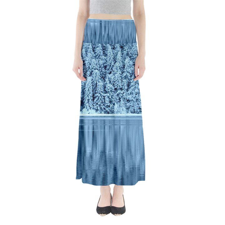 Snowy Forest Reflection Lake Full Length Maxi Skirt
