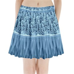 Snowy Forest Reflection Lake Pleated Mini Skirt
