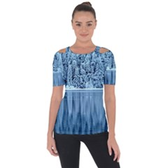 Snowy Forest Reflection Lake Shoulder Cut Out Short Sleeve Top