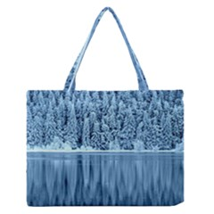 Snowy Forest Reflection Lake Zipper Medium Tote Bag