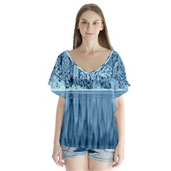 Snowy Forest Reflection Lake V Neck Flutter Sleeve Top