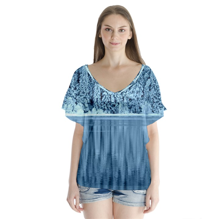 Snowy Forest Reflection Lake V-Neck Flutter Sleeve Top