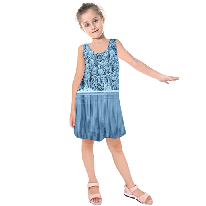 Snowy Forest Reflection Lake Kids  Sleeveless Dress