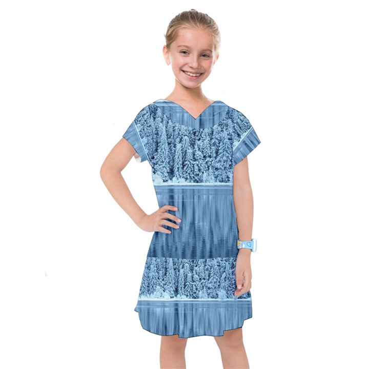 Snowy Forest Reflection Lake Kids  Drop Waist Dress