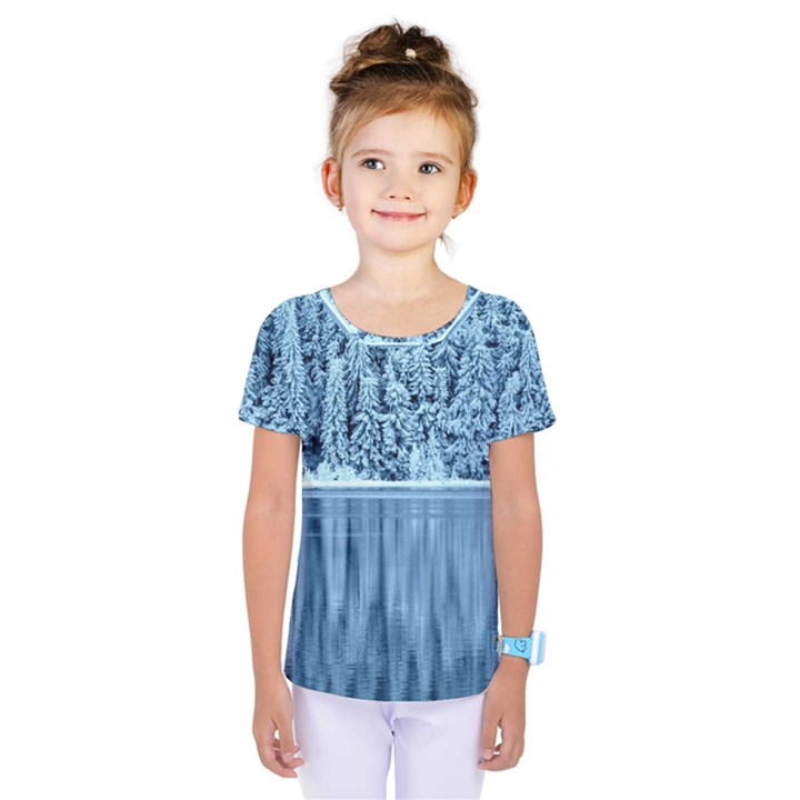 Snowy Forest Reflection Lake Kids  One Piece Tee