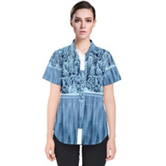 Snowy Forest Reflection Lake Women s Short Sleeve Shirt