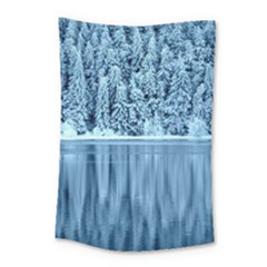 Snowy Forest Reflection Lake Small Tapestry by Alisyart