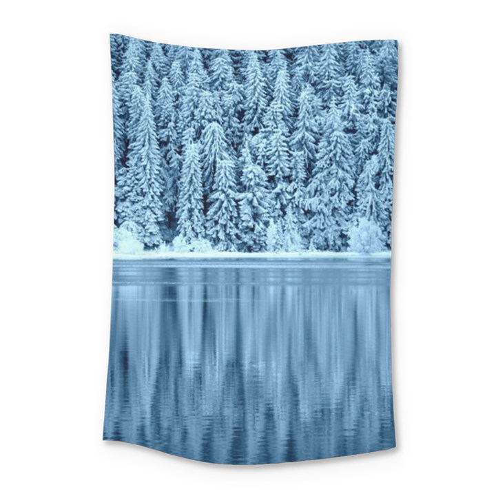 Snowy Forest Reflection Lake Small Tapestry
