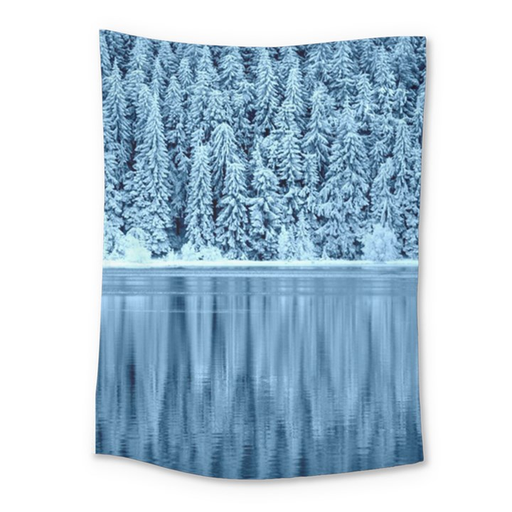 Snowy Forest Reflection Lake Medium Tapestry