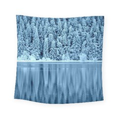 Snowy Forest Reflection Lake Square Tapestry (small)