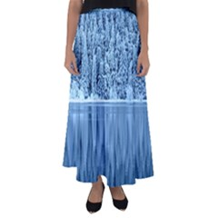 Snowy Forest Reflection Lake Flared Maxi Skirt