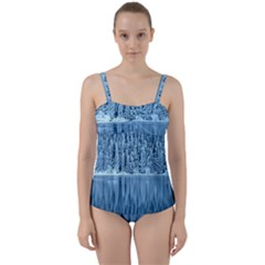 Snowy Forest Reflection Lake Twist Front Tankini Set