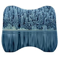 Snowy Forest Reflection Lake Velour Head Support Cushion by Alisyart