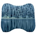Snowy Forest Reflection Lake Velour Head Support Cushion View1