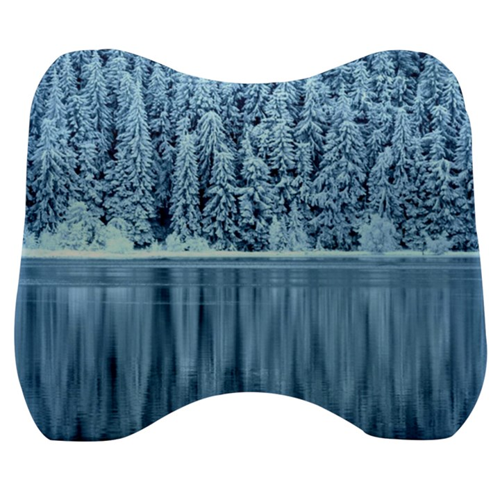 Snowy Forest Reflection Lake Velour Head Support Cushion
