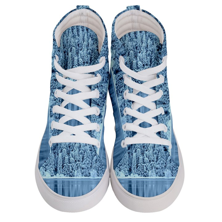 Snowy Forest Reflection Lake Men s Hi-Top Skate Sneakers