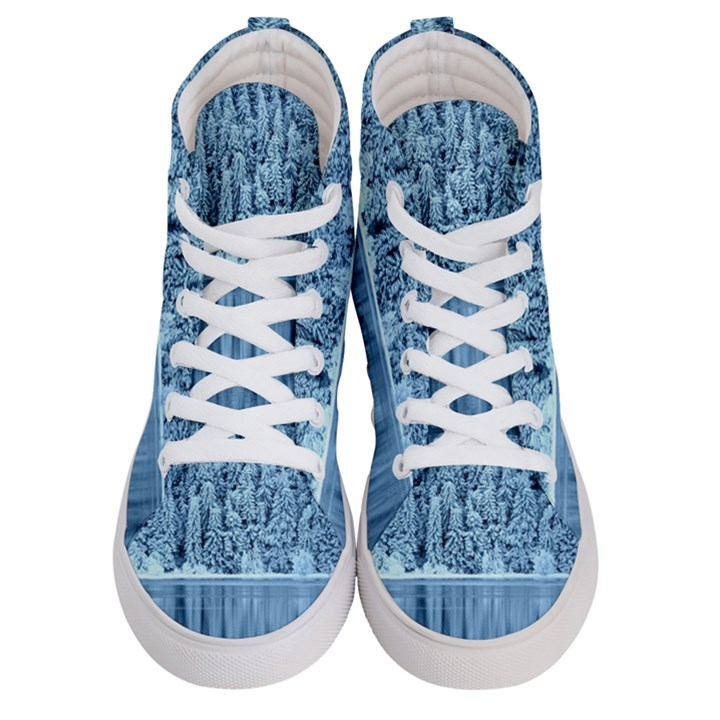 Snowy Forest Reflection Lake Women s Hi-Top Skate Sneakers