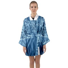 Snowy Forest Reflection Lake Long Sleeve Kimono Robe