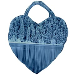 Snowy Forest Reflection Lake Giant Heart Shaped Tote