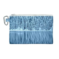 Snowy Forest Reflection Lake Canvas Cosmetic Bag (large)