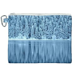 Snowy Forest Reflection Lake Canvas Cosmetic Bag (xxl)