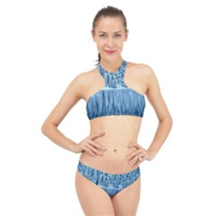 Snowy Forest Reflection Lake High Neck Bikini Set