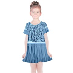 Snowy Forest Reflection Lake Kids  Simple Cotton Dress