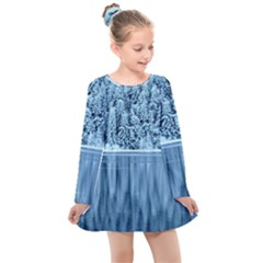 Snowy Forest Reflection Lake Kids  Long Sleeve Dress