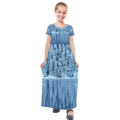Snowy Forest Reflection Lake Kids  Short Sleeve Maxi Dress