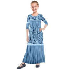 Snowy Forest Reflection Lake Kids  Quarter Sleeve Maxi Dress