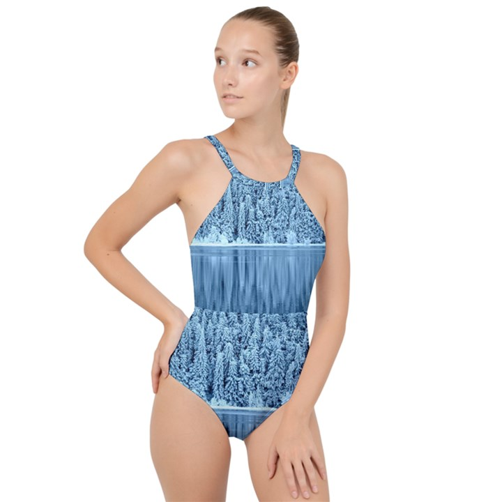Snowy Forest Reflection Lake High Neck One Piece Swimsuit