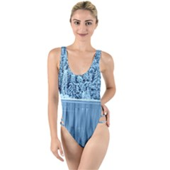 Snowy Forest Reflection Lake High Leg Strappy Swimsuit