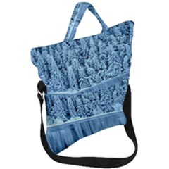 Snowy Forest Reflection Lake Fold Over Handle Tote Bag
