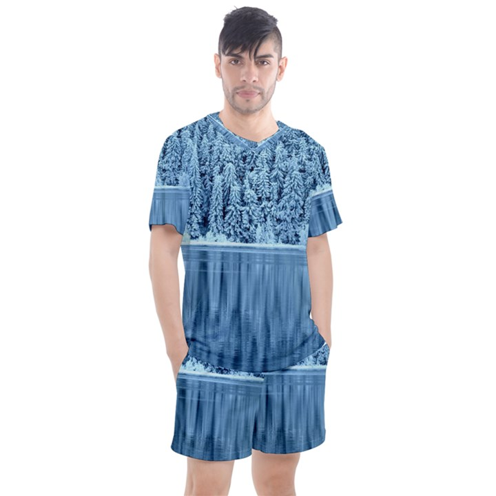 Snowy Forest Reflection Lake Men s Mesh Tee and Shorts Set