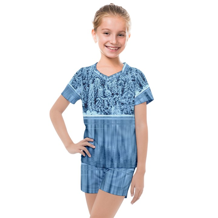 Snowy Forest Reflection Lake Kids  Mesh Tee and Shorts Set