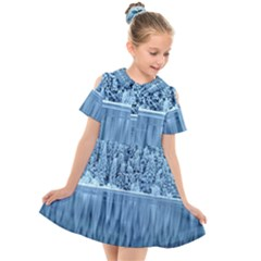 Snowy Forest Reflection Lake Kids  Short Sleeve Shirt Dress