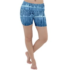 Snowy Forest Reflection Lake Lightweight Velour Yoga Shorts