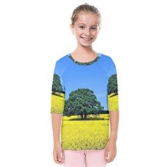 Tree In Field Kids  Quarter Sleeve Raglan Tee