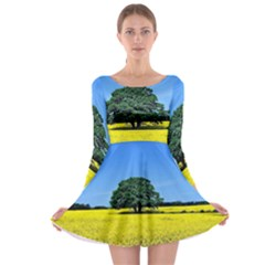 Tree In Field Long Sleeve Skater Dress