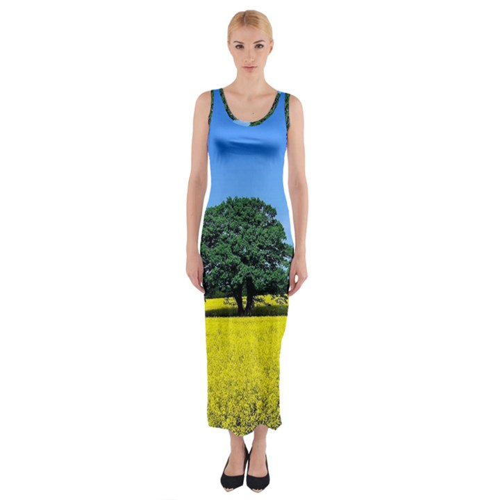 Tree In Field Fitted Maxi Dress