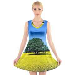 Tree In Field V Neck Sleeveless Dress