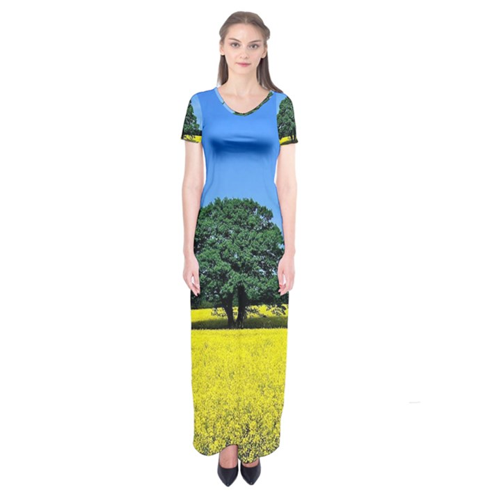 Tree In Field Short Sleeve Maxi Dress