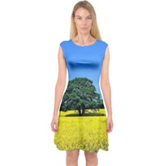 Tree In Field Capsleeve Midi Dress