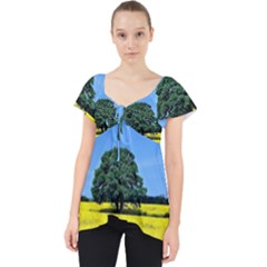 Tree In Field Lace Front Dolly Top
