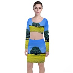Tree In Field Top And Skirt Sets by Alisyart