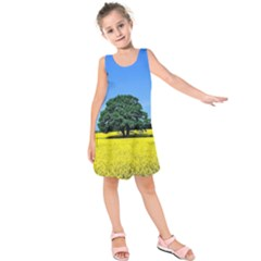 Tree In Field Kids  Sleeveless Dress
