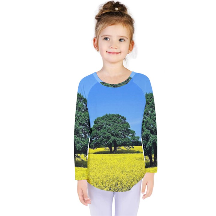 Tree In Field Kids  Long Sleeve Tee