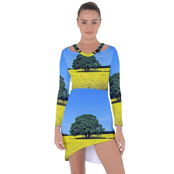 Tree In Field Asymmetric Cut-Out Shift Dress